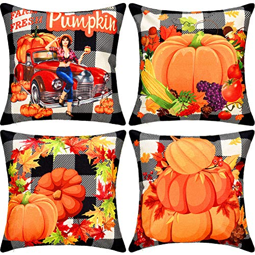 Gejoy 4 Pieces Square Pillow Cover Cushion Cover Decorative Pillow Case for Halloween Christmas Thanksgiving Day Sofa Bedroom Decoration, 18 by 18 inch (Thanksgiving Pumpkin) (Pillow Covers Square Decorative)