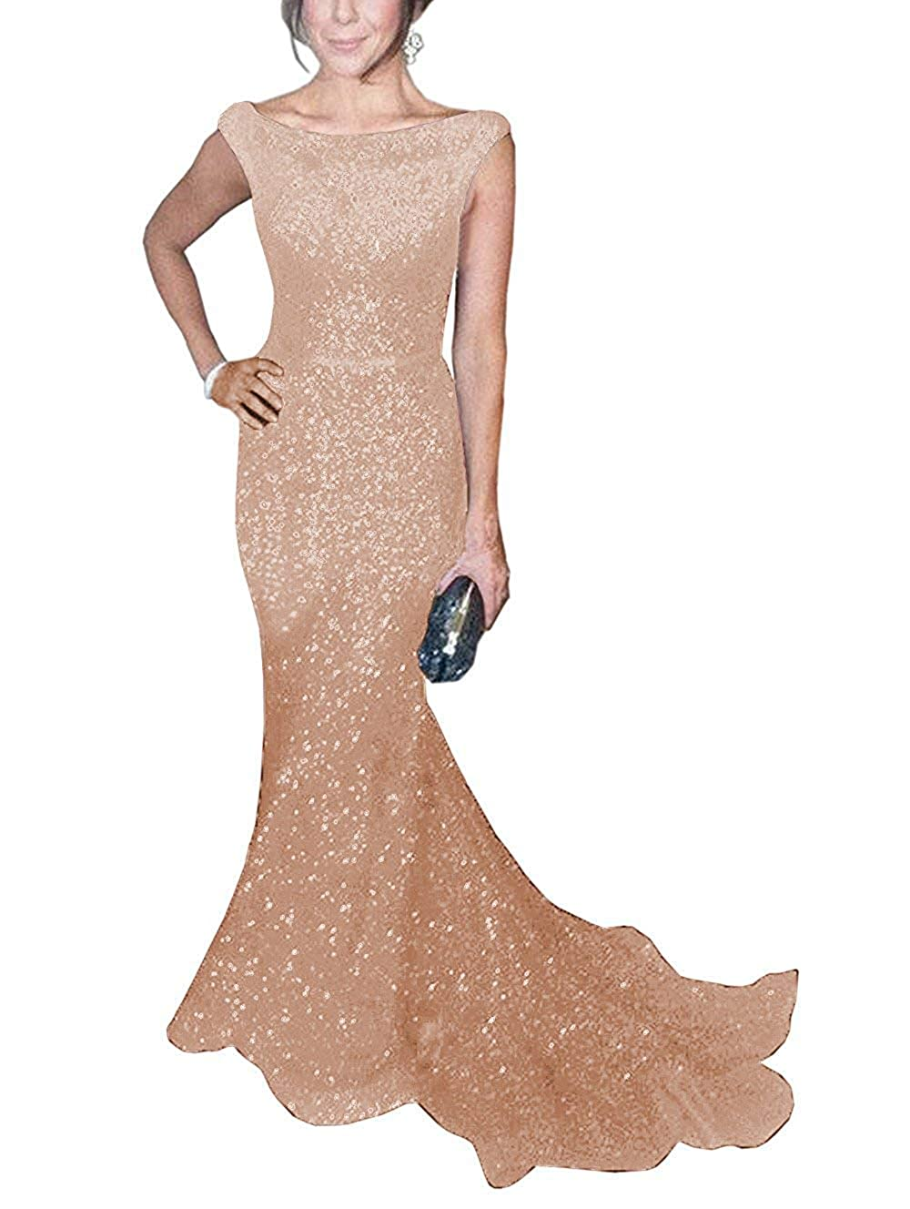 pink gold ToonySume Women's Mermaid Sequined Prom Gown Formal Evening Dress for Wedding