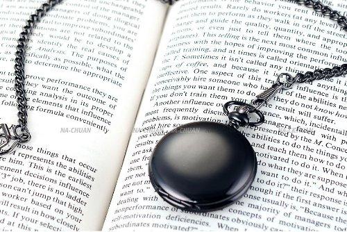 AMPM24 Vintage Black Men's Women Ladies Quartz Pendent Pocket Watch Clock Chain Gift WPK026 by AMPM24 (Image #7)