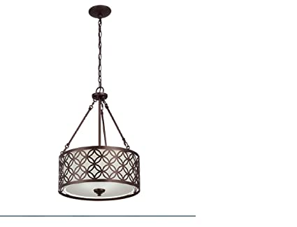 Earling 18 In W Oil Rubbed Bronze Pendant Light With Fabric Shade Dining  Room