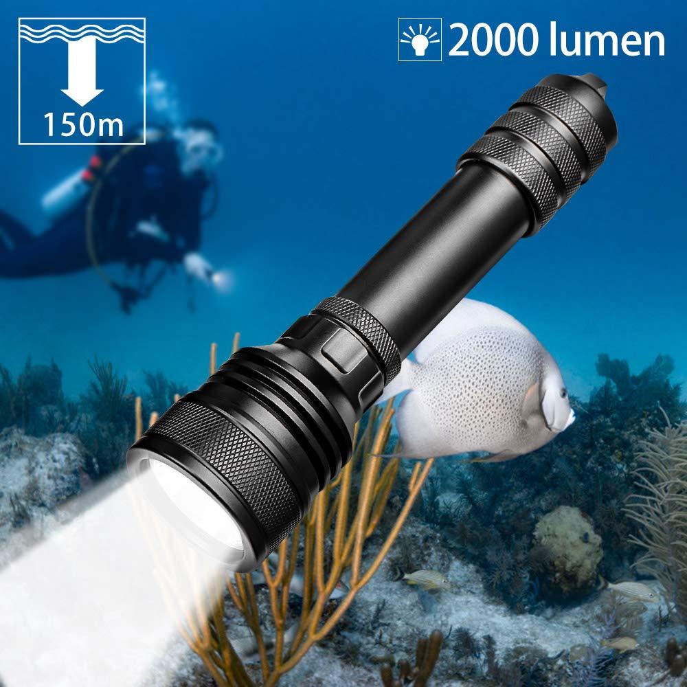 Odepro D2000P Tauchlampe mit 2000 Lumen CREE LED für 150M Unterwasser Tauchen