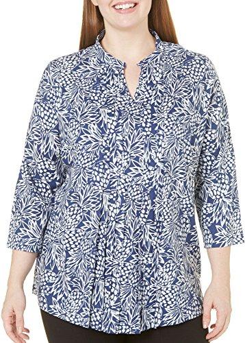 caribbean-joe-womens-plus-size-pineapple-batik-printed-rayon-long-sleeve-top-with-pintucks-military-