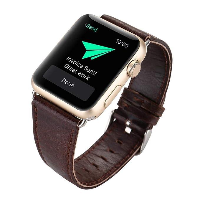 JiaMeng Pulsera de Lujo de Correa de Correa de Banda de Reloj de Pulsera de Hebilla de Cuero para Reloj Apple Watch 42 mm(Marron Oscuro,): Amazon.es: Ropa y ...