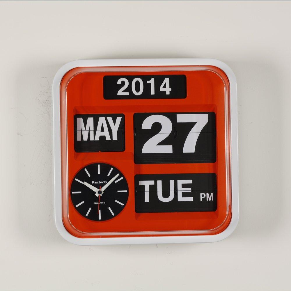 FARTECH Auto Calendar Flip Clock AD-640 Orange