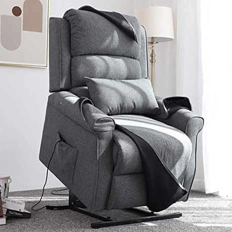 Fabulous Irene House Power Modern Transitional Lift Chair Recliners With Soft Linenbrushed Fabric Grey Theyellowbook Wood Chair Design Ideas Theyellowbookinfo