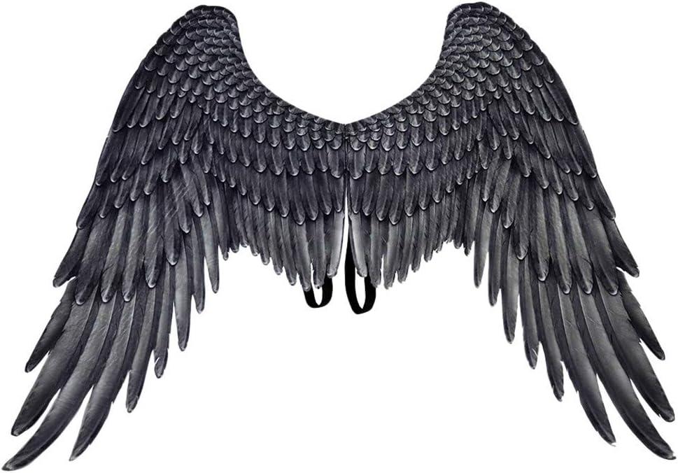 Flow.month Unisex Alas de ángel Halloween Christmas Carnaval Oversize Wings Adulto Niño Chica Costume Disfraces Accesorios (Negro - Adulto)