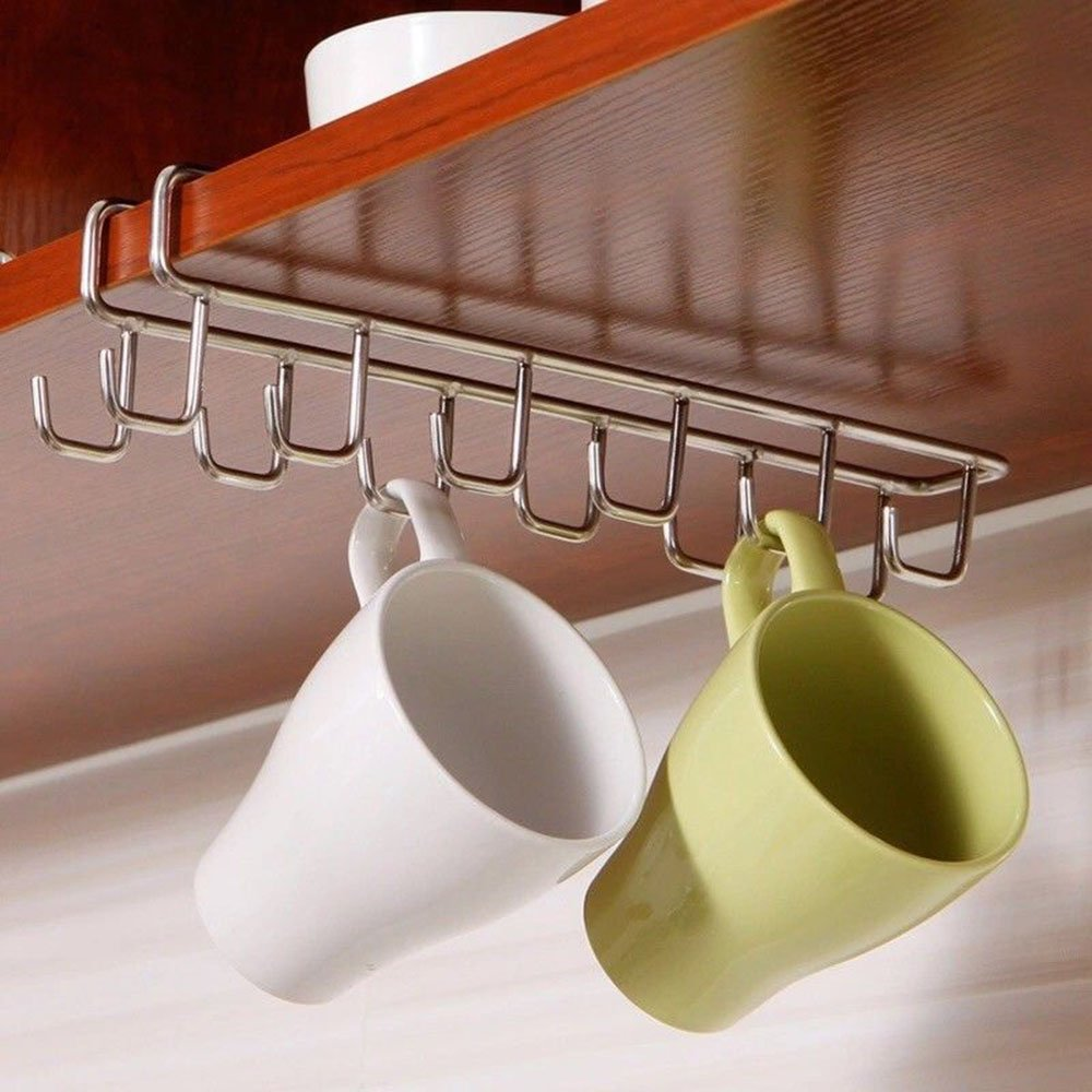 MAXGOODS Stainless Steel Hanging Organizer,Kitchen Storage Rack Cupboard Hanging Hook Mug Cooker Cutlery Storage Holder Dish Hanger,12 Hooks 27x7.5CM