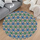 Nalahome Modern Flannel Microfiber Non-Slip Machine Washable Round Area Rug-can Decor Geometric Hexagonal Pattern Stars Islamic Decorating Style Eastern Zellige Art area rugs Home Decor-Round 79''