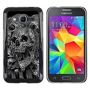 LECELL--Funda protectora / Cubierta / Piel For Samsung Galaxy Core Prime -- Goth Evil Skulls B & W --