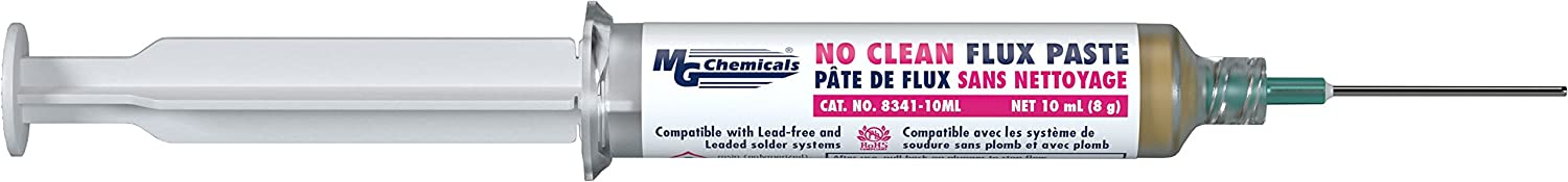 MG Chemicals 8341 No Clean Flux Paste, 10 milliliters Pneumatic Dispenser (Complete with Plunger & Dispensing Tip)
