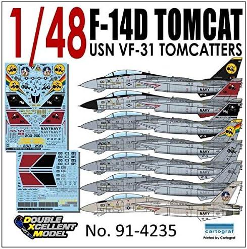 "DXMデカール DXM-91-4235 1/48 USN F-14D Tomcat VF-31""Tomcatters"""