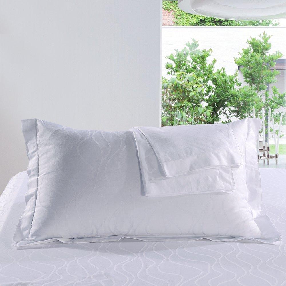 ZHIMIAN 2 Piece Set 100% Cotton White Pillow Cases Ripple Jacquard Luxury Hotel Quality Shams,Standard/Queen Size