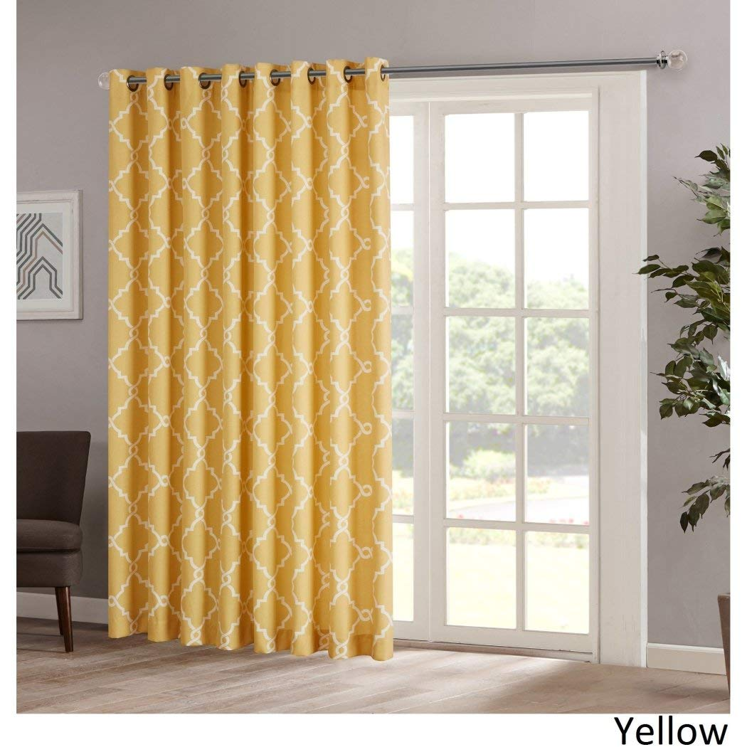 1pc 84 Yellow Color Geometric Sliding Door Curtain, Lattice Design Sliding Door Panels on