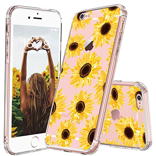 (MOSNOVO iPhone 6S Plus Case/iPhone 6 Plus Case for Women, Sunflower Floral Flower Pattern Clear Design Plastic Hard Case with TPU Bumper Protective Case Cover for iPhone 6 Plus/iPhone 6S Plus)