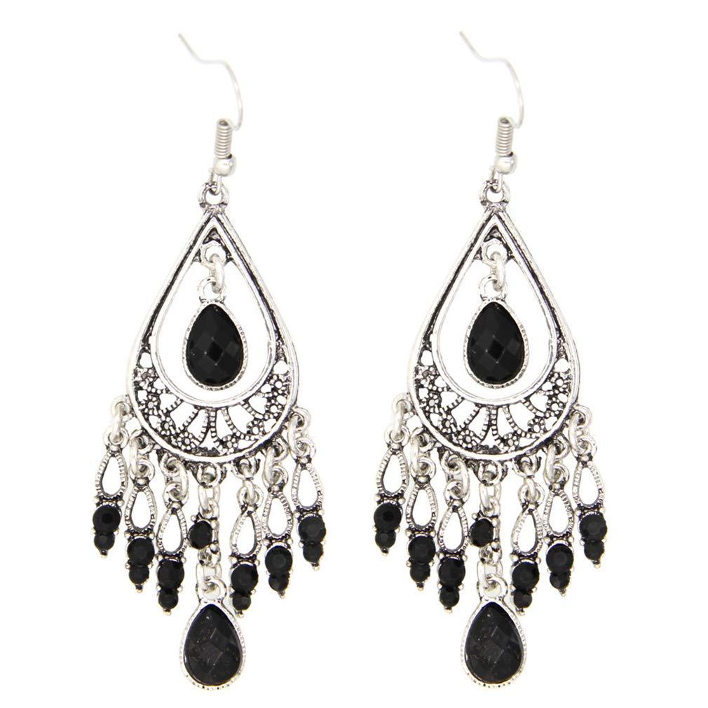 Meoliny Fashion Chandelier Earrings Teardrop Tassel Earrings Simulated Turquoise Dangle Drop Earrings,Black
