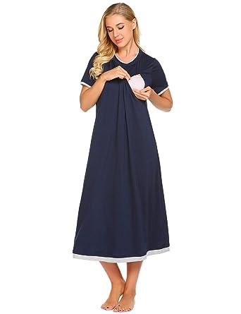 096920a0cd Kisshes Women Ladies Long Maternity Nightdress O Neck Nursing Nightie  Breastfeeding Nightwear Nightgown Sleepwear