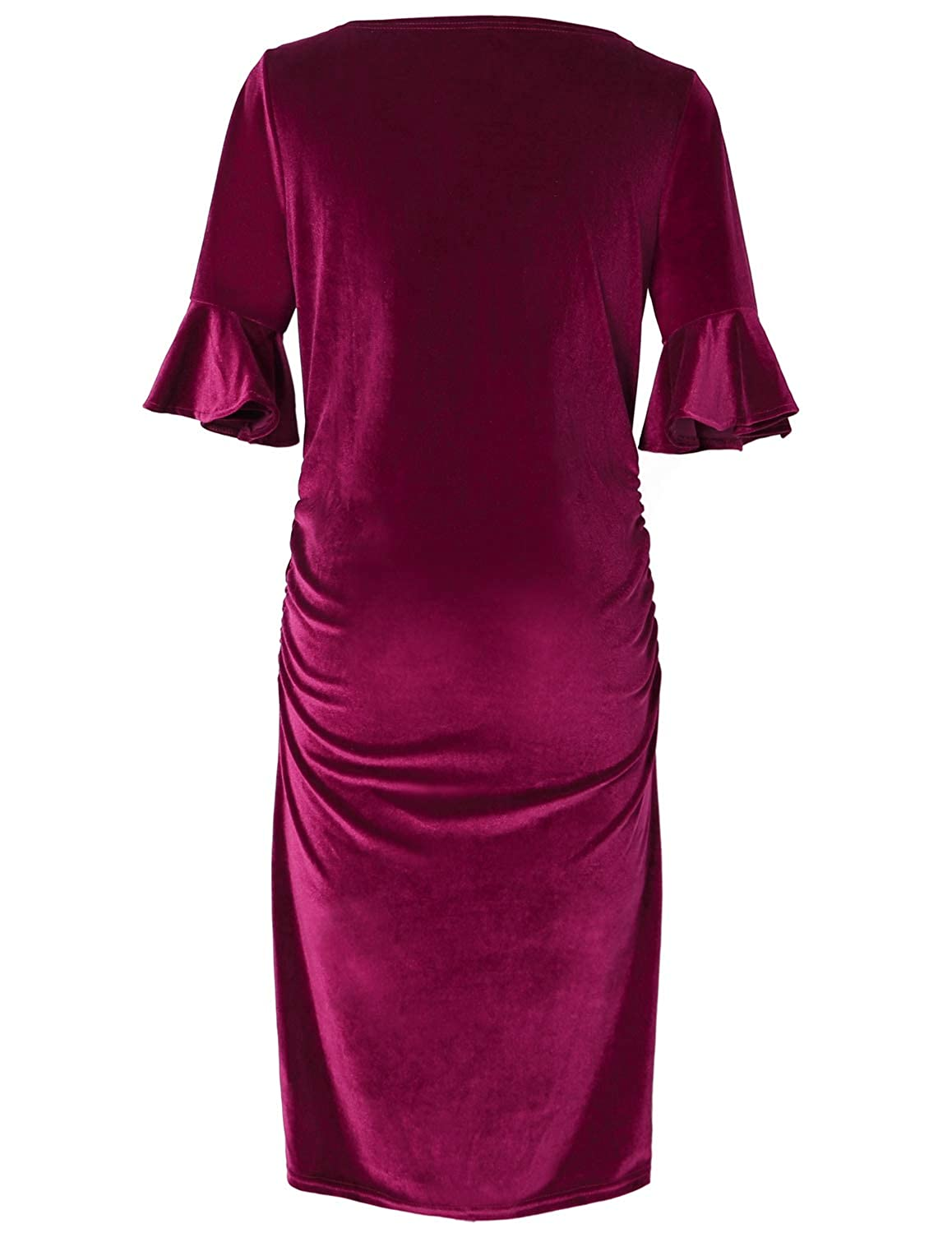 e7610d0d3f33b PrettyLife Velvet Maternity Dress Bell Sleeves Ruched Knee Length Pregnancy  Party Formal Bodycon Dress (Wine Red, XL): Amazon.ca: Clothing & Accessories
