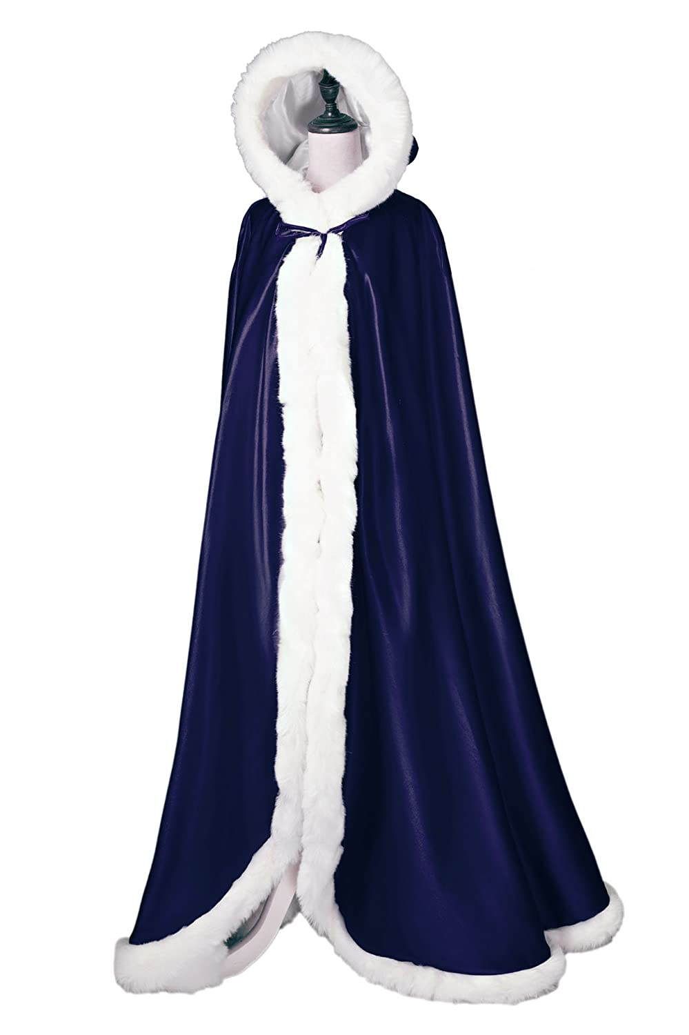 Wedding Cape Hooded Cloak for Bride Winter Reversible with Fur Trim Free Hand Muff Full Length Ivory 50 inches