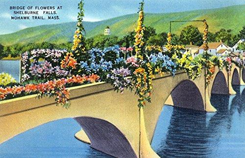 Berkshire Mountains, MA - Mohawk Trail View of Shelburne Falls Bridge of Flowers (12x18 Fine Art Print, Home Wall Decor Artwork Poster)