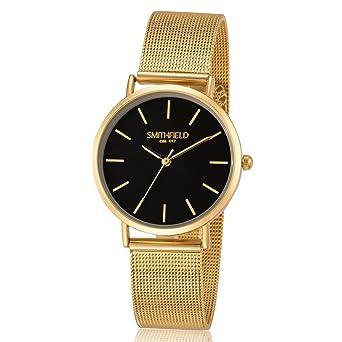 Damenuhren schwarz gold  SMITHFIELD Damenuhr - BLACKHALL LADY - gold/schwarz: Amazon.de: Uhren
