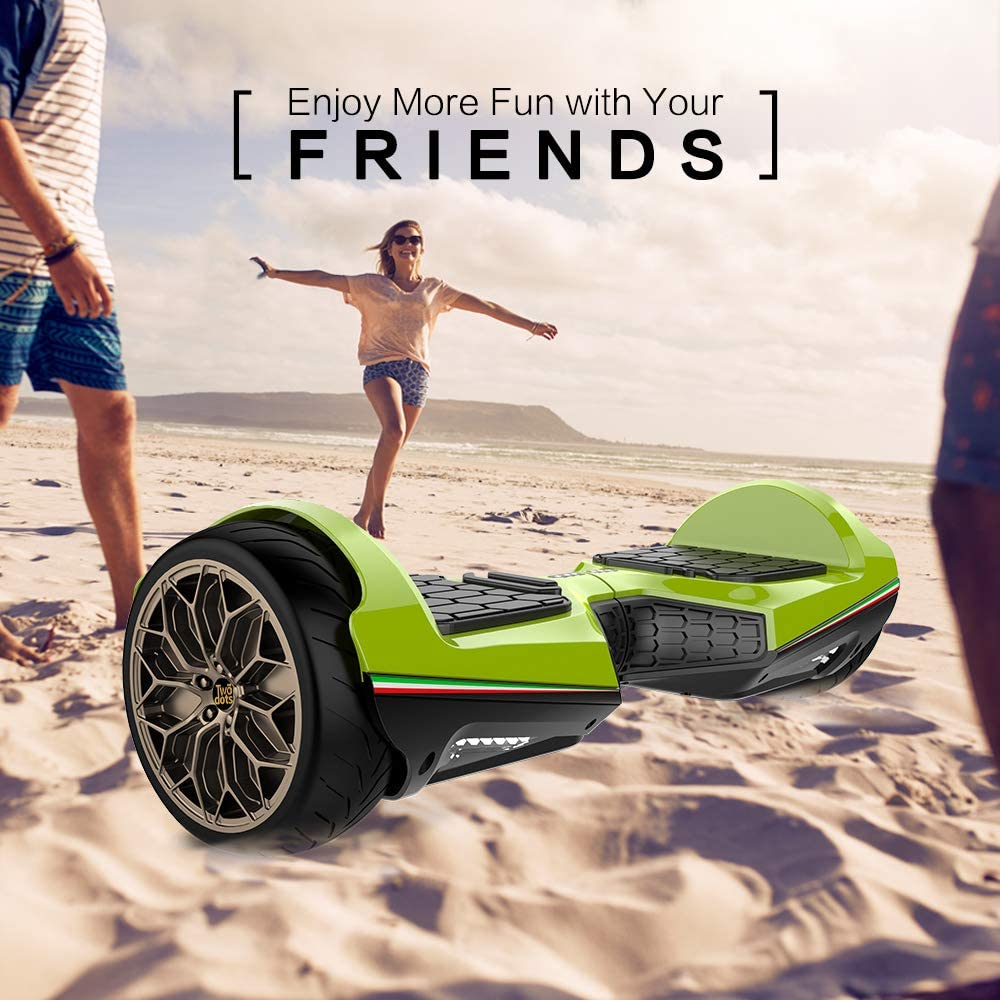 TWO DOTS Hoverboard 6.5 UL2272 Certified Self Balancing Scooter Solid Rubber Two Wheels Hover Board with APP Bluetooth Speaker and LED Lights for Adults and Kids