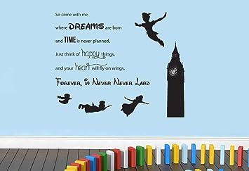 Peter Pan Never Never Land Disney Wandtattoo Zitat Navy L