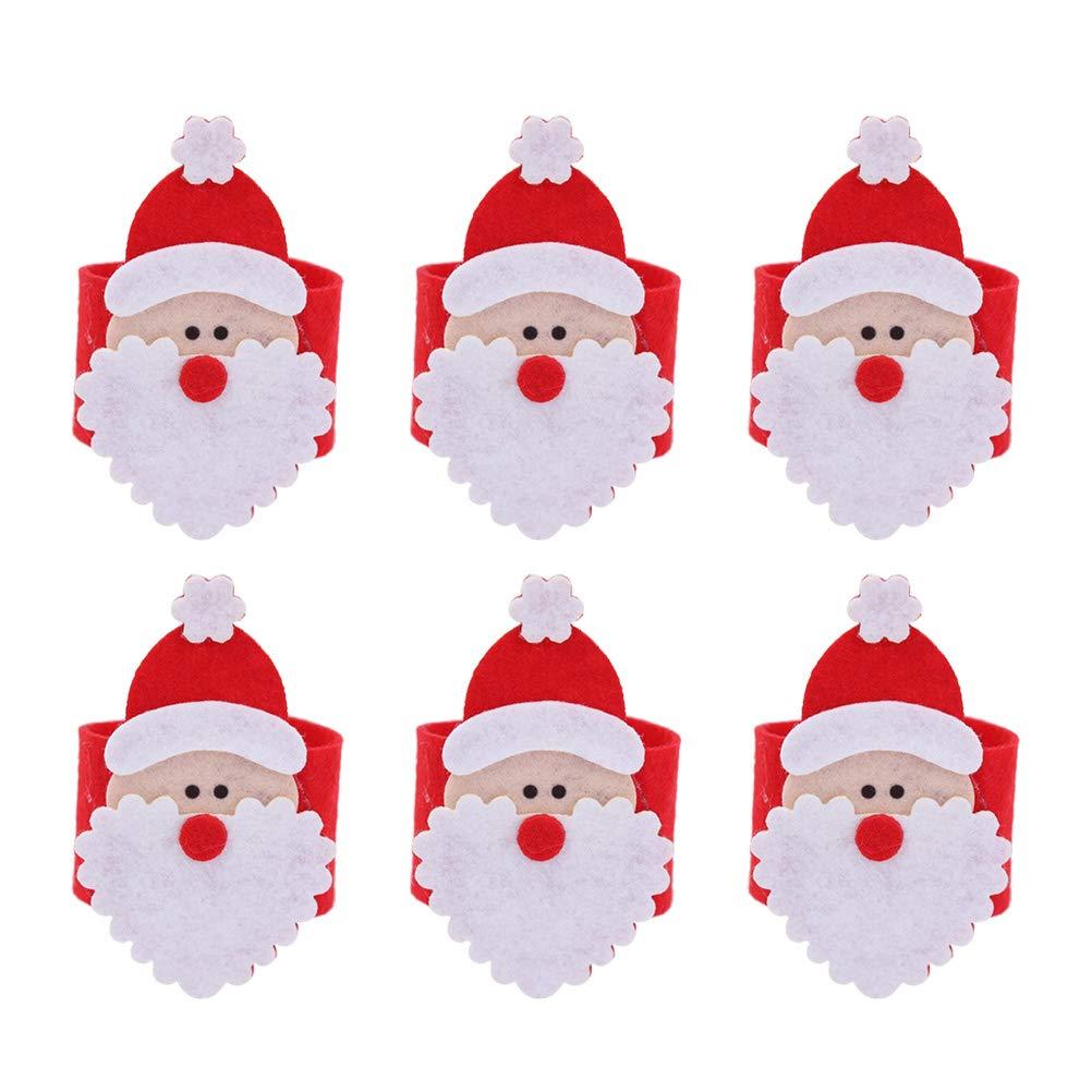 pi/ù Vecchio BESTOYARD 6pcs Anelli di tovagliolo di Natale Bande Serviette Fibbia Ornamenti del Supporto per la Decorazione di Festa di Natale Decorazione tavola da Pranzo