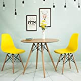 Wooden Round Dining Table And Set Of 2 Dining Chairs,Eiffel Style Wooden  For Office