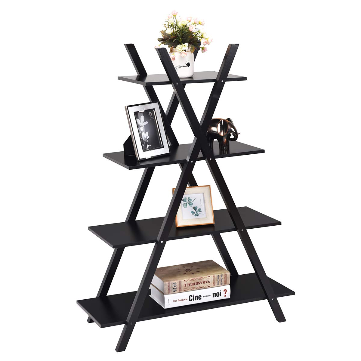 Giantex 4 Tier Bookshelf Storage Shelves Bookcase Ladder Shelf Home Office X-Shape Potted Plant or Flower Rack Display Shelves Easy Assembly Black, 31.5 LX13.0 WX42.9 H
