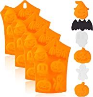 4 Pieces Halloween Silicone Baking Molds Chocolate Cookie Candy Ice Cube Molds with Pumpkin Bat Skull Ghost Shape for...