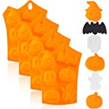 4 Pieces Halloween Silicone Baking Molds Chocolate Cookie Candy Ice Cube Molds with Pumpkin Bat Skull Ghost Shape for Kitchen