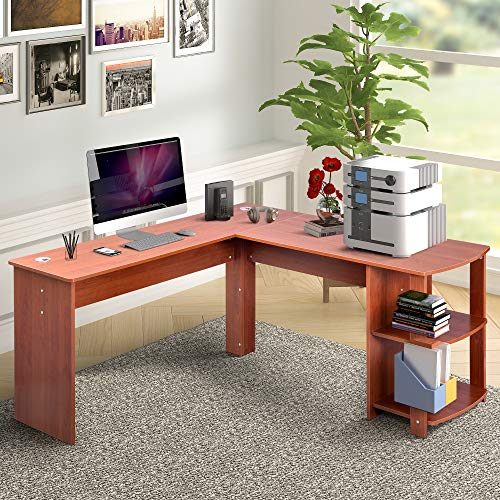 G-house Corner Computer Desk, L- Shaped Desk Office Bookshelves Storage Shelf PC Table Workstation Writing Table Maximize Office Space (Brown)
