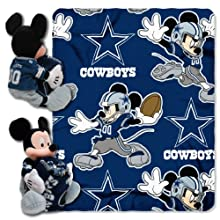 NFL Dallas Cowboys Mickey Mouse Pillow with Fleece Throw Blanket Set
