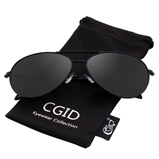 e44d5cfc050 CGID Sunglasses Polarized for Men and Women Pilot Sun Glasses Polaroid  Shades Shield UV400 Protection Dark