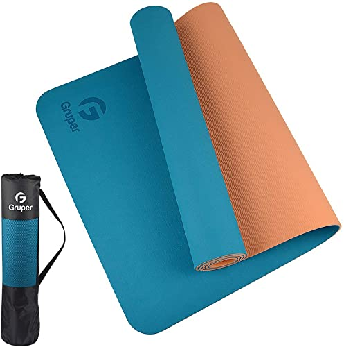 Gruper TPE Yoga Mat,Pro Yoga Mat Eco Friendly Non Slip Fitness Exercise Mat with Carrying Strap,Workout Mat for Yoga, Pilates and Floor Exercises