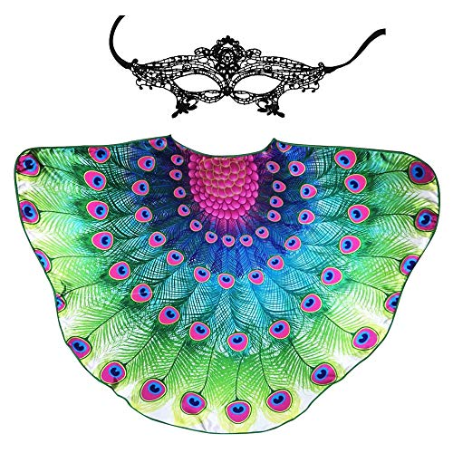 Fairy Adult-Sized Peacock Wings Costume for Women Feathered Shawl-Bird Themed Party Dress Up Dance Cosplay Accessory (Rose-Green) ()
