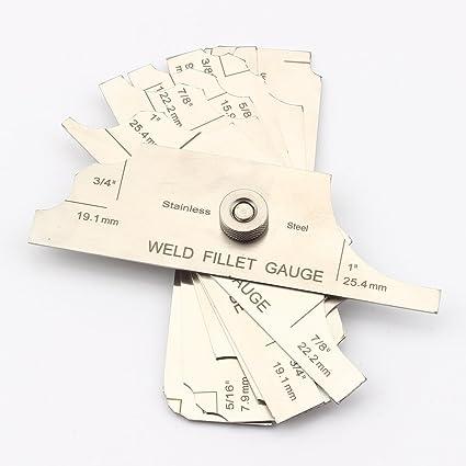 Fillet Weld Gauge Gage Set Stainless Steel Welding Inspection Gauge Inch//Metric