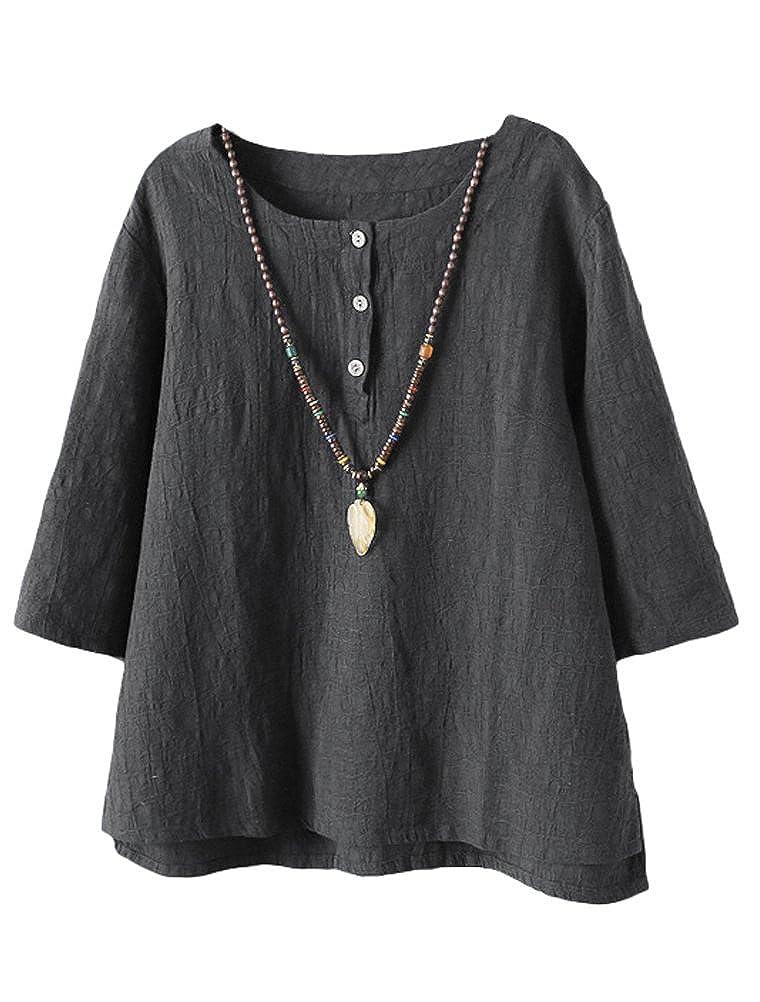 Minibee Womens 3//4 Sleeve Cotton Linen Jacquard Blouses Top T-Shirt