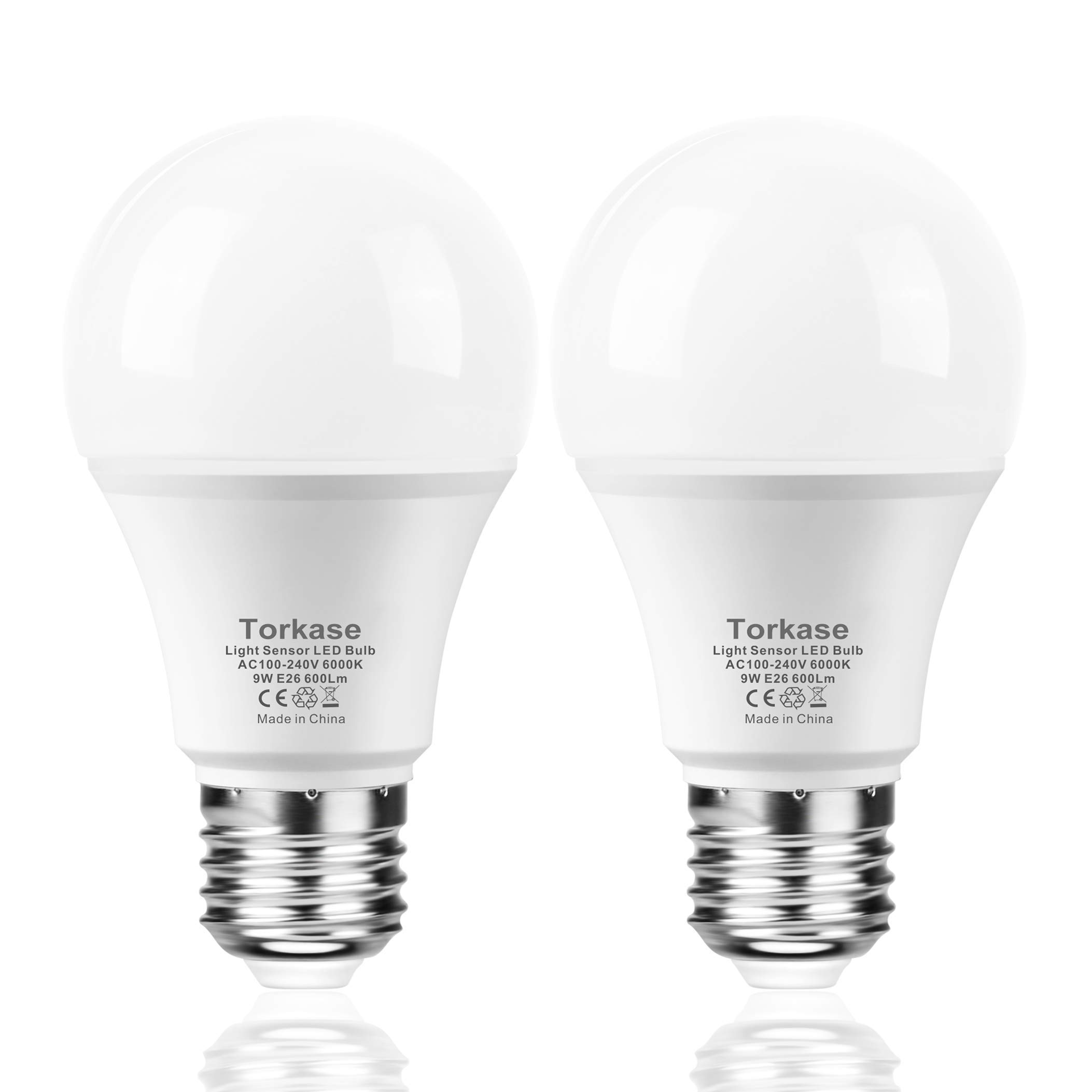 Torkase Dusk to Dawn Light Bulb, Plug and Play, Auto On/Off, Built in Photocell Detector, 85% Energy Saving, 9W/A19/E26/120V, Indoor/Outdoor Yard Porch Patio Garage Warehouse (Cool White, 2 Pack)