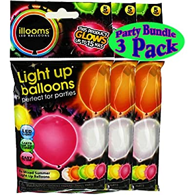 illooms Light Up LED Balloons 5 Pack Party Pack Bundle - 3 Pack (15 Balloons Total)