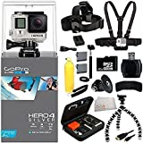 GoPro HERO4 SILVER 32GB Bundle 12PC Accessory Kit. Includes 32GB MicroSD Memory Card + High Speed Memory Card Reader + 2 Replacement GoPro Batteries + Dual Battery Charger + Head Strap + Chest Strap + Micro HDMI Cable + Handheld Monopod + MORE