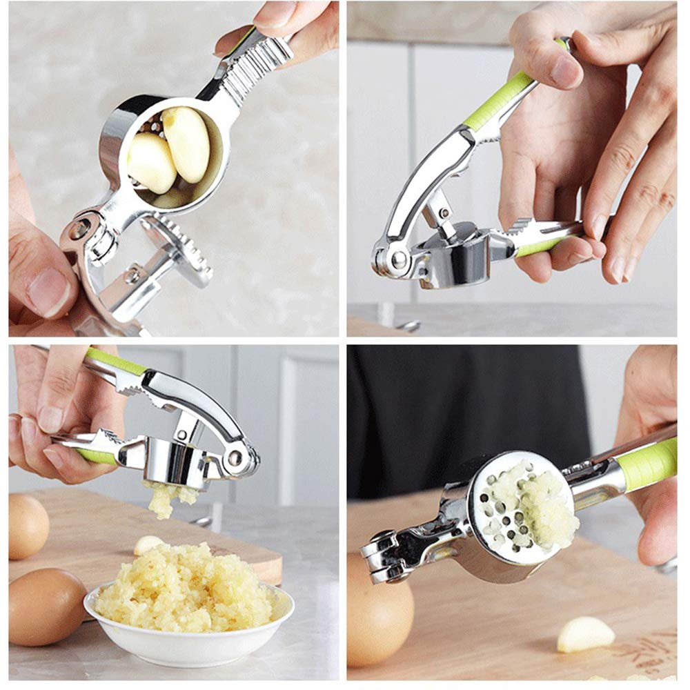 Garlic Press Dishwasher Safe (Green) Professional Stainless steel Garlic Press Set with Silicone Tube Roller and Cleaning Brush,Easy to Clean
