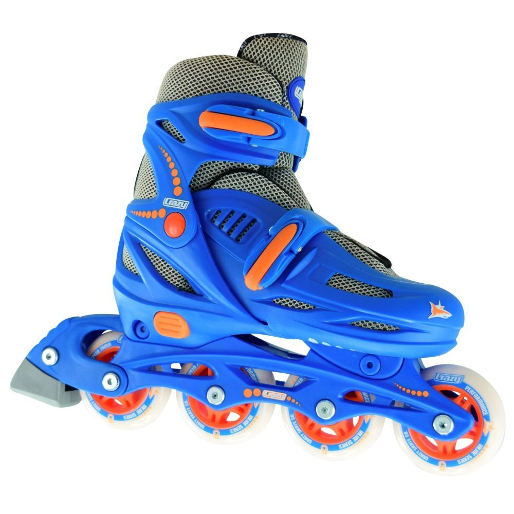 Crazy Skates Adjustable Inline Skates | Adjust to fit 4 Shoe Sizes | Blue - Model 148 | Medium - M2-5/L3-6