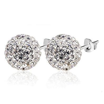 a6b396a44246 Pendientes Plata de ley 925 para Mujer Pendientes de bola de cristal 8mm de  joyería de moda para mujer niñas  Amazon.es  Joyería