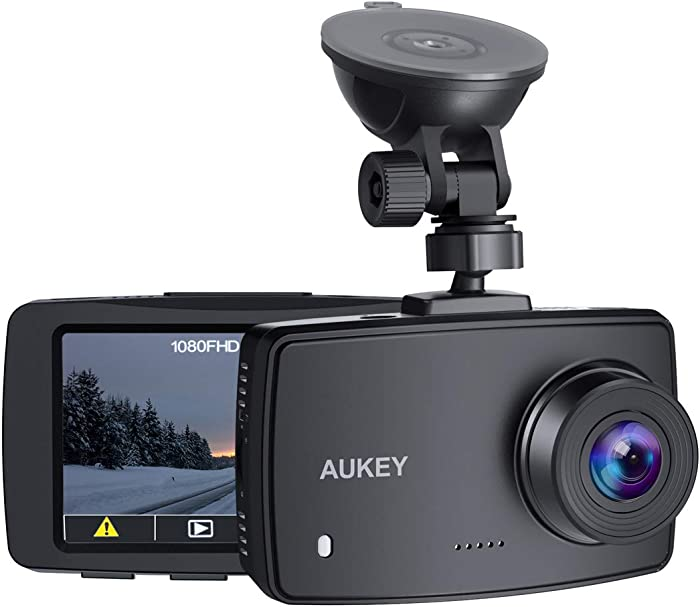 AUKEY Dash Cam 1080P FHD Car Camera Supercapacitor 170° Wide-Angle Dash Camera for Cars 2.7 Inch LCD Screen, G-Sensor, Loop Recording, Motion Detection, Support 128GB MAX