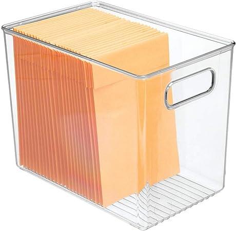 mDesign Caja organizadora con asas para material de oficina – Caja de plástico transparente para el armario o el cajón – Organizador de escritorio para sobres, bolígrafos, etc. – transparente: Amazon.es: Hogar