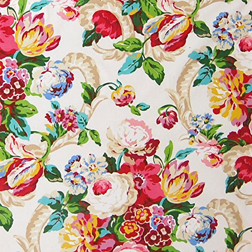 Spring Green Pink Red Chintz Floral Cotton Made in USA Upholstery Fabric by the yard ()