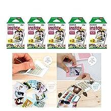 Fujifilm Instax Mini Instant Film, 2 x 10 Shoots x 5 Pack (Total 100 Shoots) Value Set + 20 Pcs Film Decorative Sticker