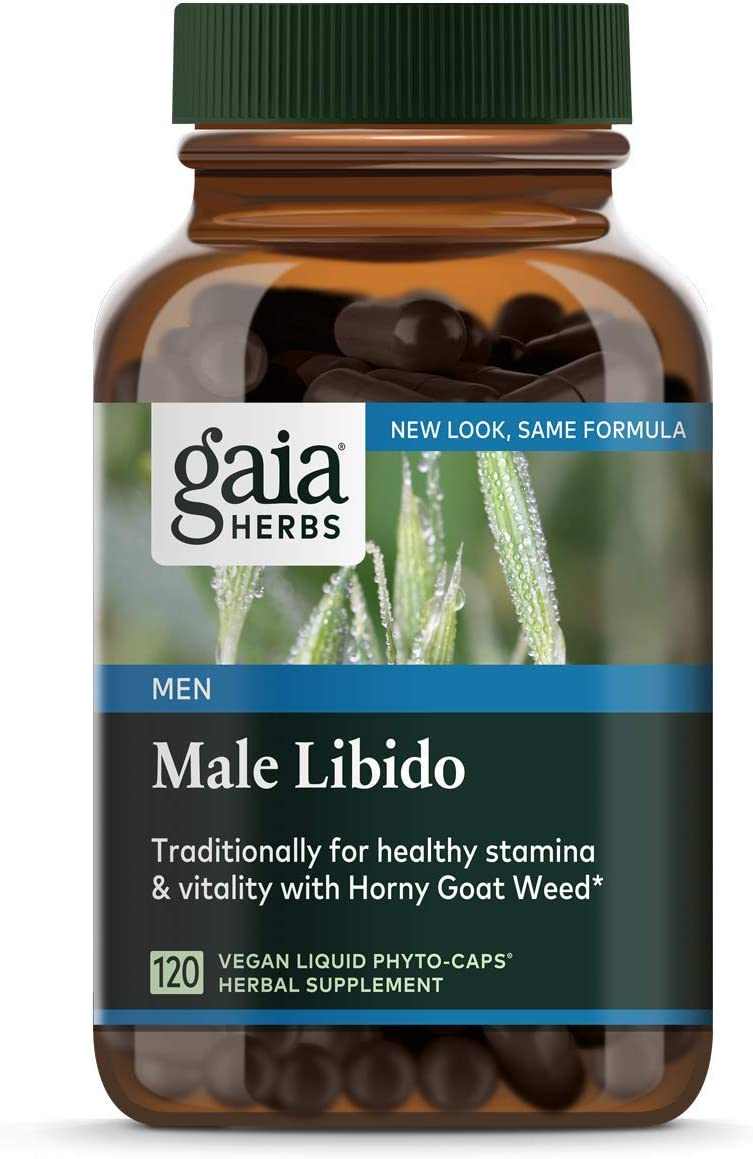 Gaia Herbs Male Libido Vegan Liquid Capsules - Supports Stamina and Optimizes Healthy Performance with Epimedium Horny Goat Weed , Tribulus Terrestris, Maca Root and Saw Palmetto, 120 Count
