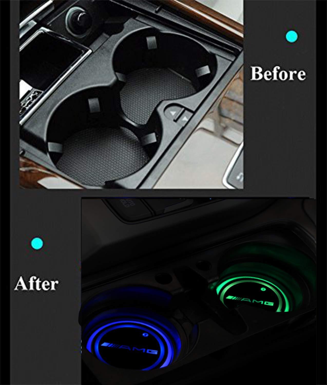 Gabriel Versi/ón mejorada de la luz del portavasos LED 7 colores 2 piezas adecuado para Ben-z carga USB posavasos